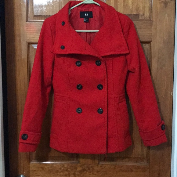 H&M Jackets & Blazers - RED H&M PEA COAT